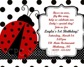 Ladybug Party Invitation, Printable or Printed Invite