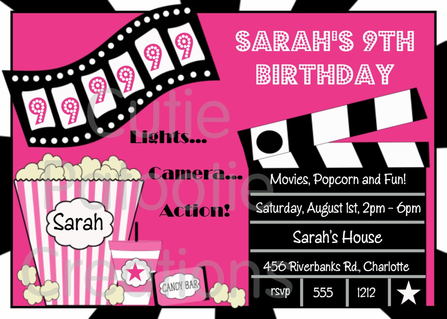 zoom - Movie Birthday Party Invitations