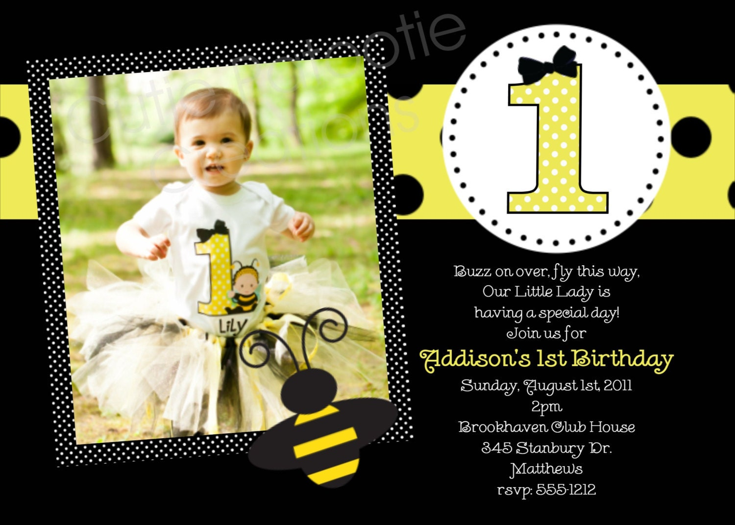 Bumble Bee Birthday Party Invitations Printable or Printed – Bumble Bee Party Invitations