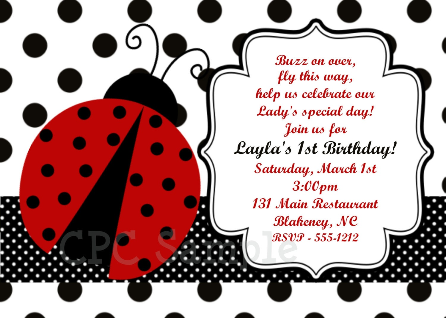 Ladybug Party Invitation Printable Or Printed Invite