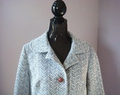 Vintage Fitted Animal Stripe Light  Coat Small Washable 1960's