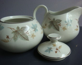 Vintage Fall Staffordshire Sugar and Creamer Set Leaves and Berries