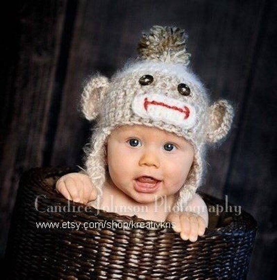 Spring Clearance Sale Angel Soft Sock Monkey Baby Hat 6-12 months READY TO SHIP