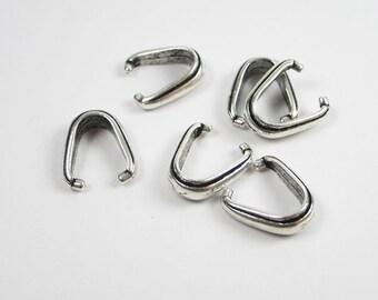 6 Silver Tierracast Nouveau Pinch Bails