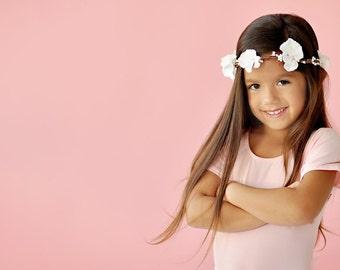 White Flower Hair Wreath, flower girl head piece, flower girl headband,  flower girl hair accessories