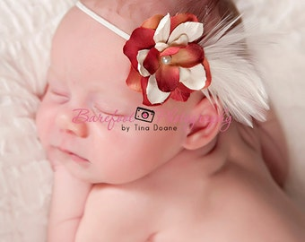 Vintage small flower in tan red ivory with pearls and feathers on ivory skinny elastic headband newborn, baby, toddler, infant, girl