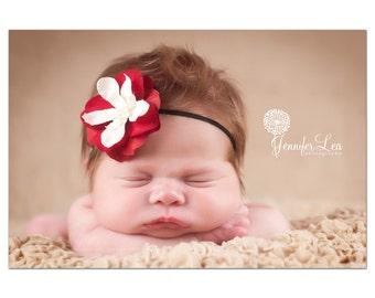 Red Flower Headband on Black Skinny Elastic, Newborn Headband, Baby Headband, Crimson Red with Ivory Small FLower Headband