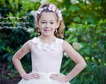 flower girl top, pink leotard, flower girl outfit