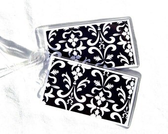Black and white damask luggage id tags, stocking stuffer for mom, set of 2 women's id tags, backpack tags, travel accessory, luggage tags