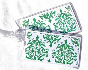 Damask luggage id tags, green and white women's travel tags, set of 2 travel accessory, women's id tags, suitcase tags, luggage tags