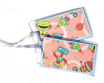 Kid's luggage id tags, robots luggage tags, space travel tags, luggage accessory, set of 2 orange and green suitcase tags, id backpack tags