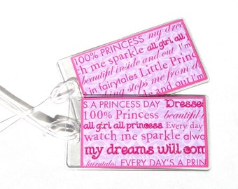Princess sayings luggage id tags, girl's travel tags, pink luggage accessory, set of 2 id tags, backpack tags, luggage tags, suitcase tags
