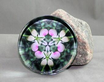 Glass Paperweight Lady Slipper Mandala Sacred Geometry Boho Chic Hippie Kaleidoscope Mod Unique Boss Gift Coworker Gift Dancing Ladies