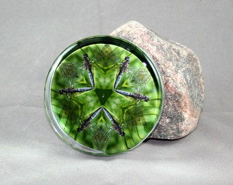 Dragonfly Glass Paperweight Boho Chic Mandala New Age Sacred Geometry Hippie Kaleidoscope Unique Boss Gift Teacher Gift Aerial Acrobat