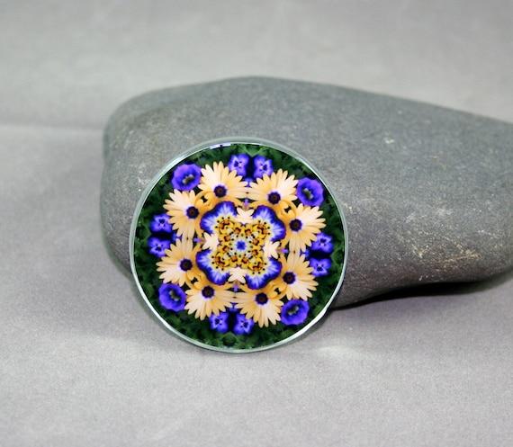 Daisy Magnet Boho Chic Mandala New Age Sacred Geometry Hippie Kaleidoscope Sunny Splendor