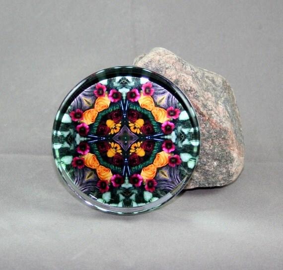 Rose Glass Paperweight Boho Chic Mandala New Age Sacred Geometry Hippie Kaleidoscope Everlasting Love
