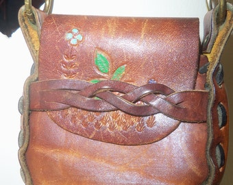 70s PAINTED TOOLED LEATHER Mini Bag--Flowers--Pochette--Brass Hardware
