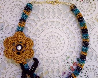 OOAK Golden ROSE Sparkle CROCHET Necklace