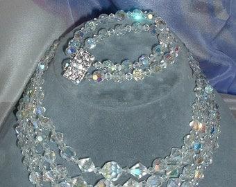 Demi Parure Aurora Borealis 4 Strand Necklace with 2 Strand Bracelet VINTAGE SET