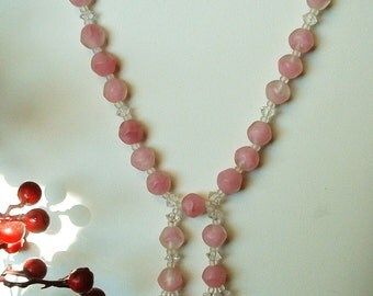 """Flapper Necklace CZECH Pink Frosted Glass w/ Crystal Swarovski Bead 17"""" Long Double Dangle 1920 Antique"""