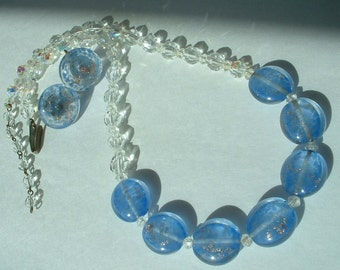 Vintage French Austrian Aurora Borealis Blue Gold Fleck Italian Murano Art Glass Necklace & Earring Set Demi Parure 1940's
