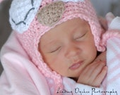 Crochet newborn baby earflap beanie hat OWL photo prop PINK