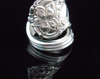 Antique Floral Spoon Ring, Orange Blossom 1910, Silverware Jewelry