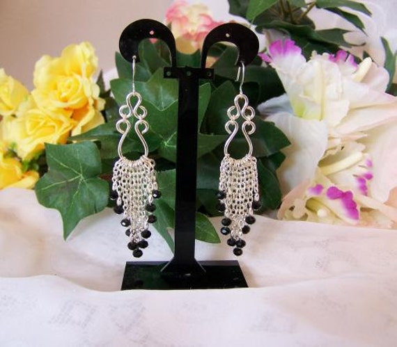 Jet Black Crystal & Silver Wire Work Chandelier Earrings