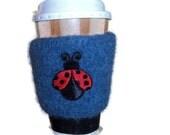 Coffee Cozy Knit Blue Ladybug