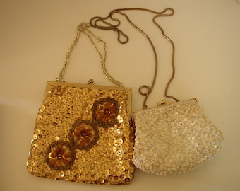 Vintage Sequin Purses Lot of 2 Sparkly Gold Tone and White Handbags Clutches