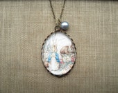Peter Rabbit & Benjamin Bunny Necklace (beatrix potter. magnifying pendant. art book illustration. fairytale jewelry. whimsical jewellery)