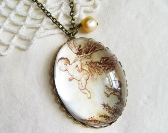 How Peter Pan Learned to Fly Necklace (arthur rackham. magnifying pendant. art book illustration. fairytale jewelry. whimsical jewellery)