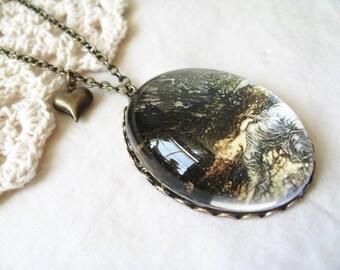 Titania Sleeping Necklace  (arthur rackham. magnifying pendant. art book illustration. fairytale jewelry. whimsical jewellery)