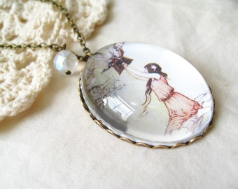 Pandora's Box Necklace (magnifying pendant. art book illustration. fairytale jewelry. antique whimsical jewellery)