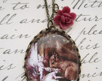 The Wounded Squirrel Necklace (magnifying pendant. art book illustration. fairytale jewelry. antique whimsical jewellery)
