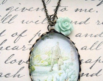 Flopsy Bunnies Necklace (beatrix potter. magnifying pendant. art book illustration. fairytale jewelry. whimsical antique jewellery)