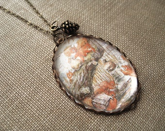Squirrels Gather Nuts Necklace (beatrix potter. magnifying pendant. art book illustration. fairytale jewelry. whimsical antique jewellery)