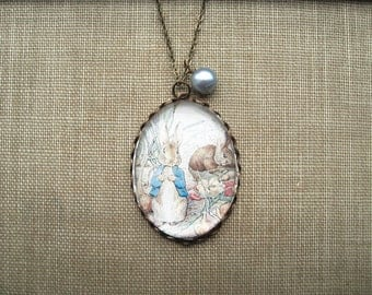 Peter Rabbit & Benjamin Bunny Necklace (beatrix potter. magnifying pendant. art book illustration. fairytale jewelry. whimsical jewellery)