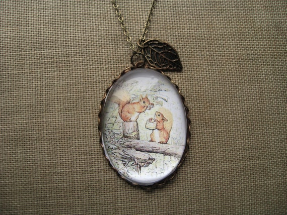 Tale of Squirrel Nutkin Necklace (beatrix potter. magnifying pendant. art book illustration. fairytale jewelry. whimsical antique jewellery)
