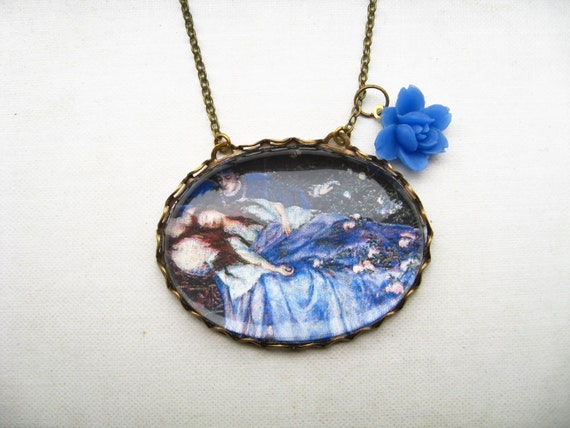 Sleeping Beauty Necklace (magnifying pendant. art book illustration. fairytale jewelry. antique whimsical jewellery)