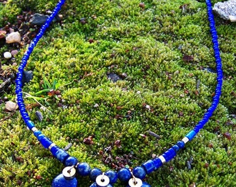 Lapis Lazuli Coin and Brass Necklace