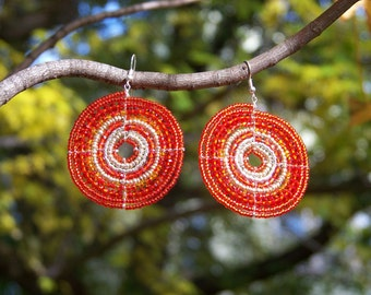 African Beaded Earrings, Orange and Silver (Large), Earrings for Autumn