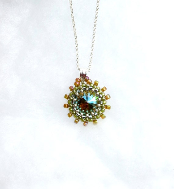 Beaded Crystal Necklace, Amber and Verdigris