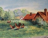 Antique postcard printed in Germany spring time embossed chickens and pussywillows free shipping to USA
