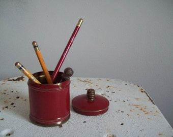Antique red covered tin Chase Brass 1930s original red paint brass finial cigarette server