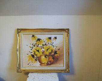 Vintage oil painting 'Bowl of Flowers' on canvas in gessoed frame signed black eyed susans cone flowers sunflowers