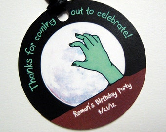 zombie hand custom personalized birthday halloween costume party thank you favor tags with coordinating ribbon - set of 12