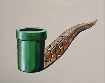 Mario Pipe Magritte Pipe,print of original painting various sizes