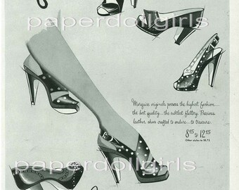 Vintage Fashion Magazine Ad Harpers BazaarSeptember 1945 Ad Marquise Wohl Shoe Company St Louis High Heel Shoes