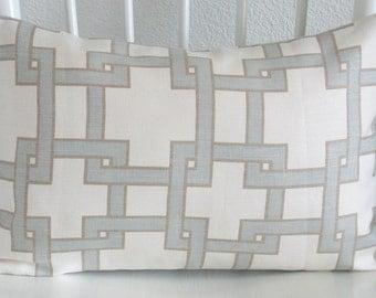 Thom Filicia Citysquare Mistymorn linen ivory blue taupe designer lumbar pillow cover